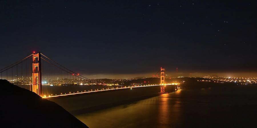 Golden Gate Night Panorama by Harold Rau