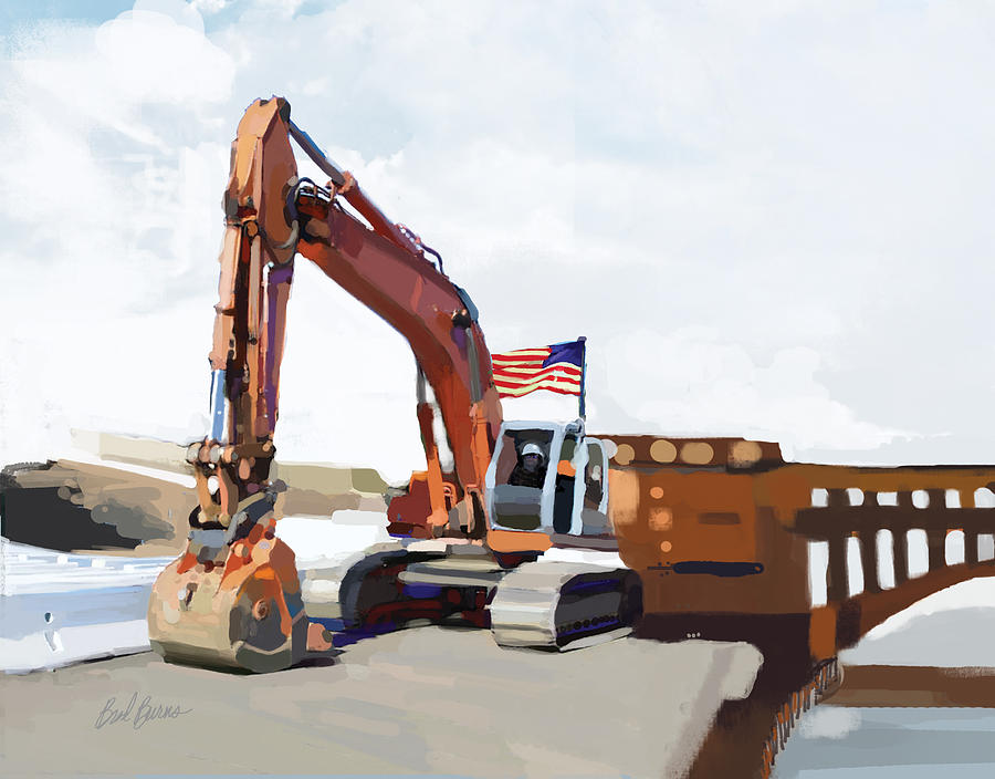 Bulldozers Painting - Golden Gate One by Brad Burns