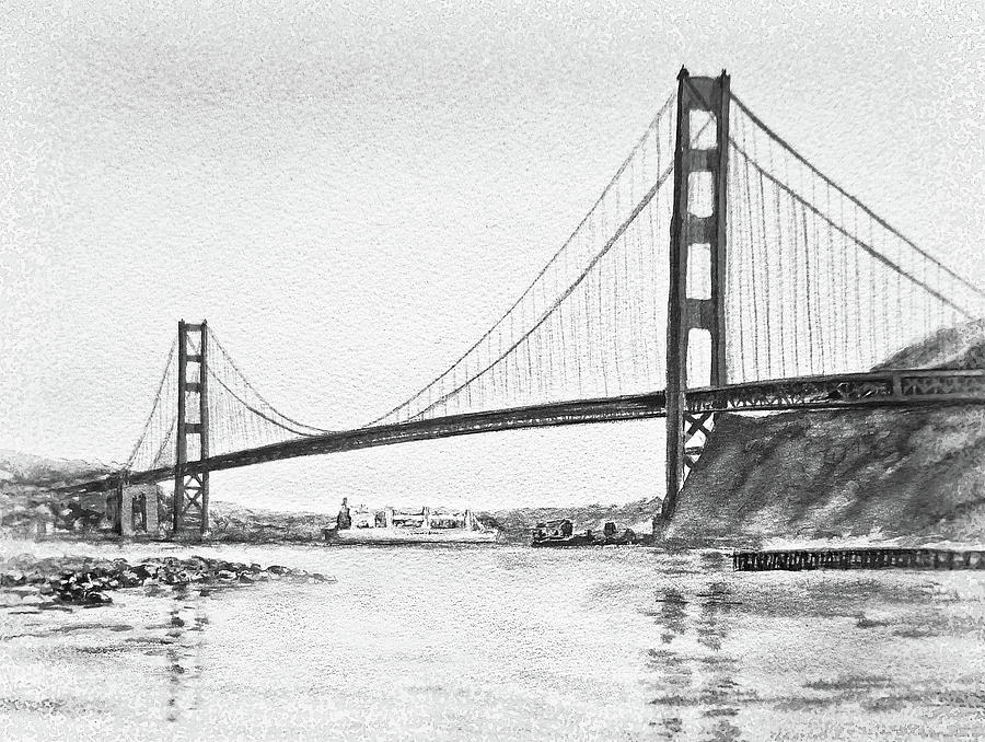 Golden Gate San Francisco Black And White Watercolor
