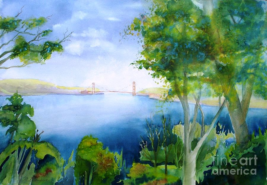 Watercolor Painting Painting - Golden Gate San Francisco by Maryann Schigur