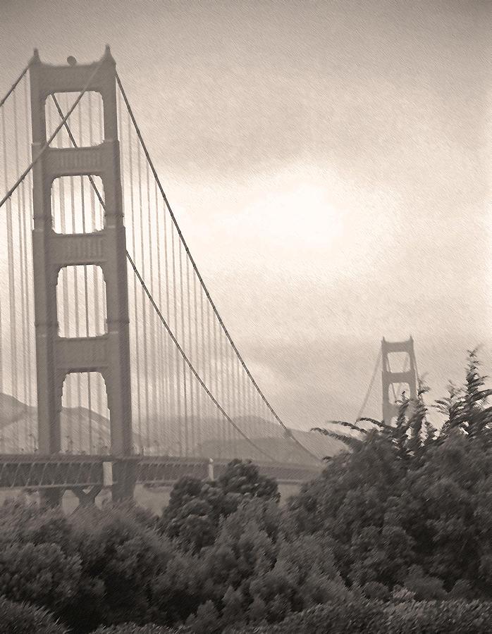 Golden Gate Bridge Photograph - Golden Gate Sepia by Steve Ohlsen