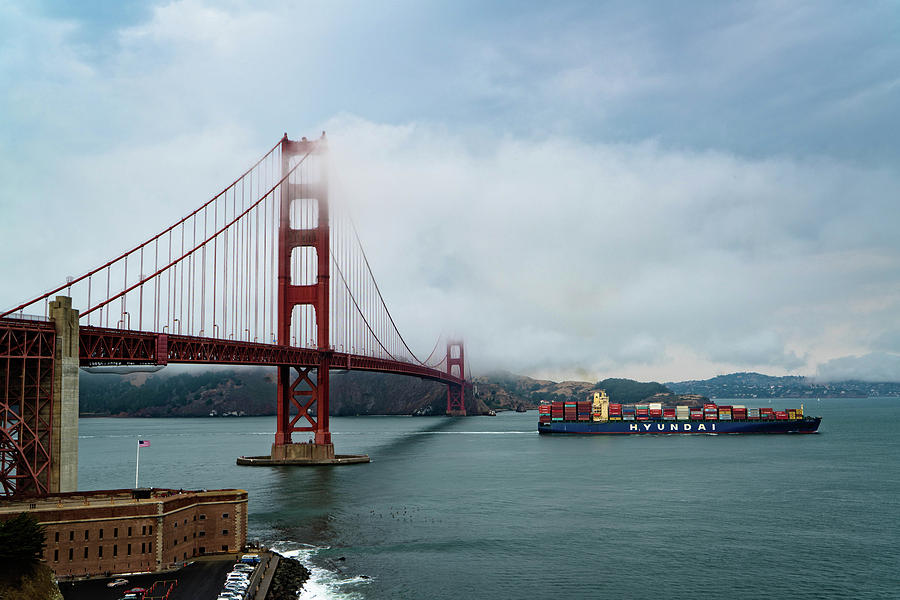 California Photograph - Golden Gate Ship by Brian Bonham
