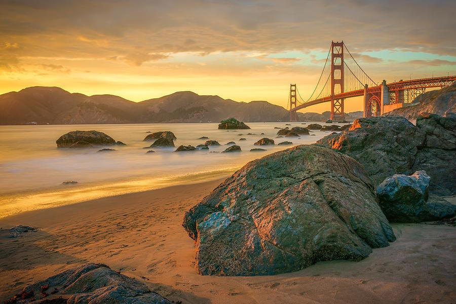 Golden Gate Bridge Photograph - Golden Gate Sunset by James Udall