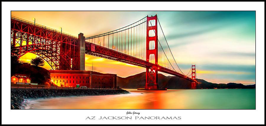 Golden Gate Bridge Photograph - Golden Gate Sunset Poster Print by Az Jackson