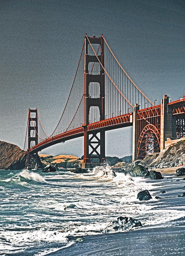 Usa Photograph - Golden Gate Surf by Dennis Cox