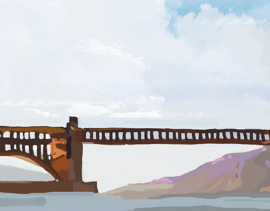 Bulldozers Painting - Golden Gate Two by Brad Burns
