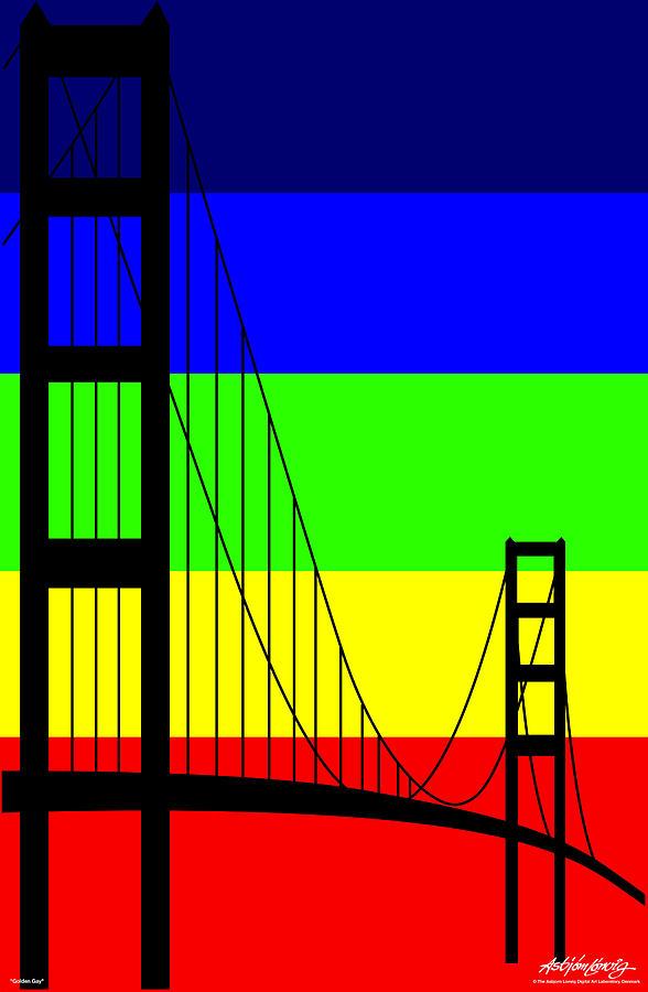 Golden Gate Digital Art - Golden Gay by Asbjorn Lonvig