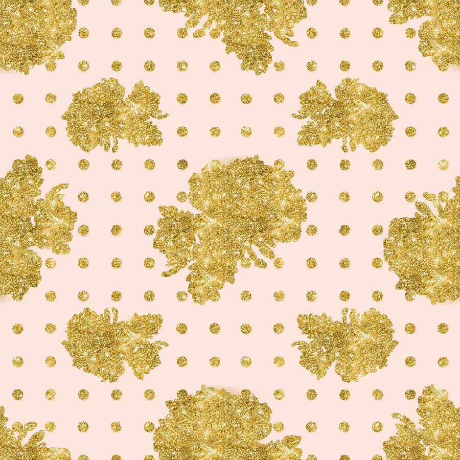 Gold Painting - Golden Gold Blush Pink Floral Rose Cluster W Dot Bedding Home Decor by Audrey Jeanne Roberts