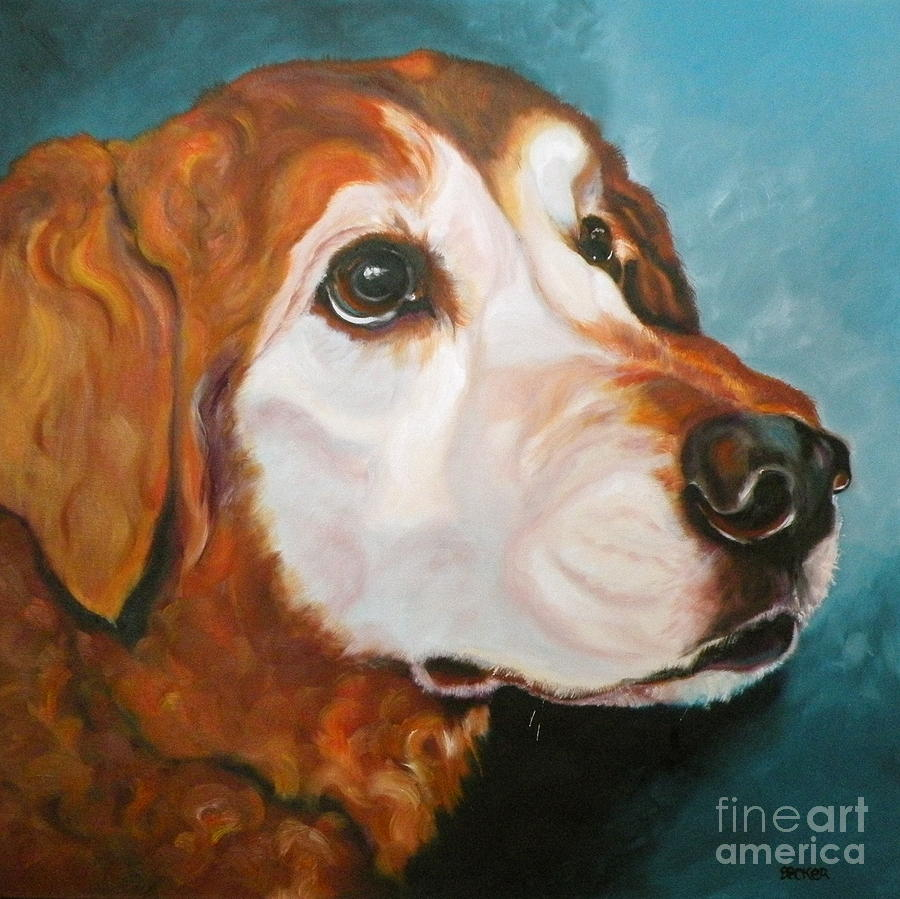 Dogs Painting - Golden Grandpa by Susan A Becker