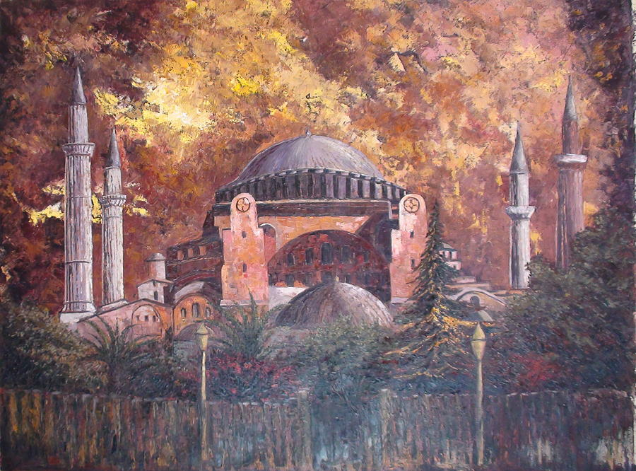 Landscape Painting - Golden Hagia Sofia by Charalampos Laskaris