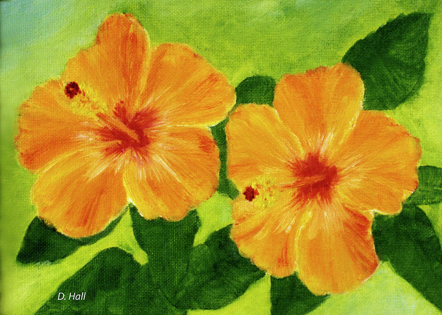 Hibiscus Painting - Golden Hawaii Hibiscus Flower #25 by Donald k Hall