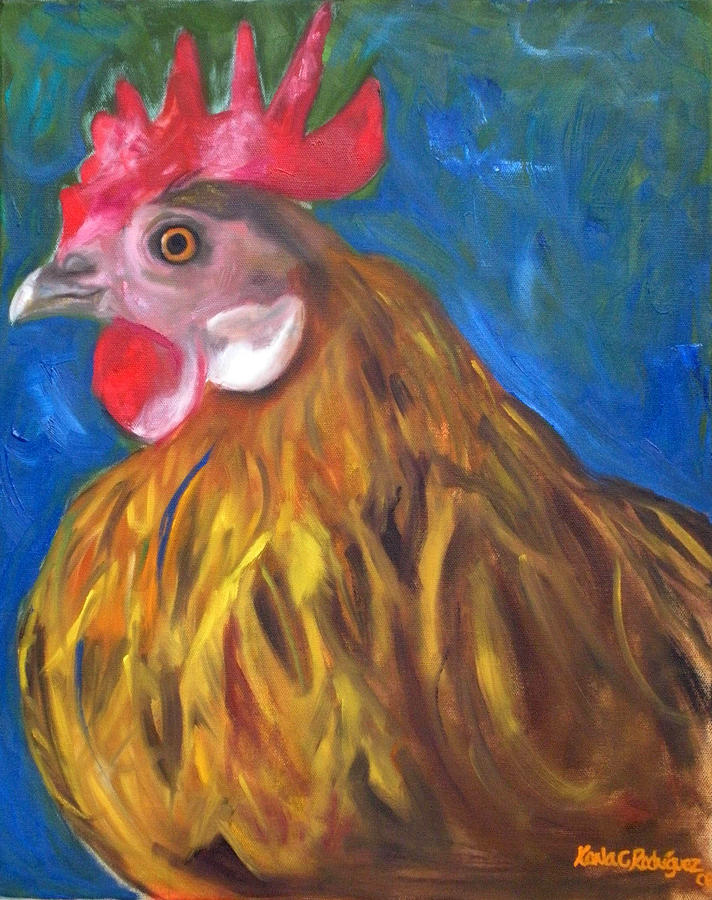 Chicken Painting - Golden Hen by Karla Cecilia Rodriguez