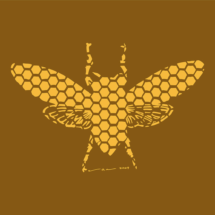 Bee Drawing - Golden Hex Bee by Karl Addison