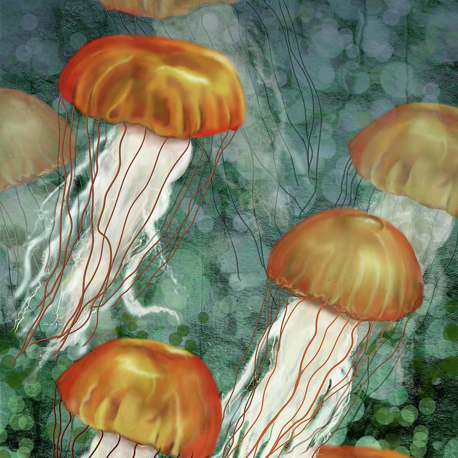 Golden Jellyfish In Green Sea Digital Art