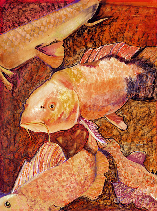 Fish Painting - Golden Koi by Pat Saunders-White