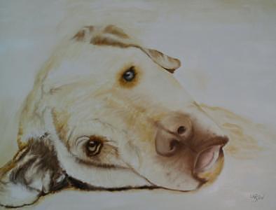 Golden Labrador Painting by Dick Larsen