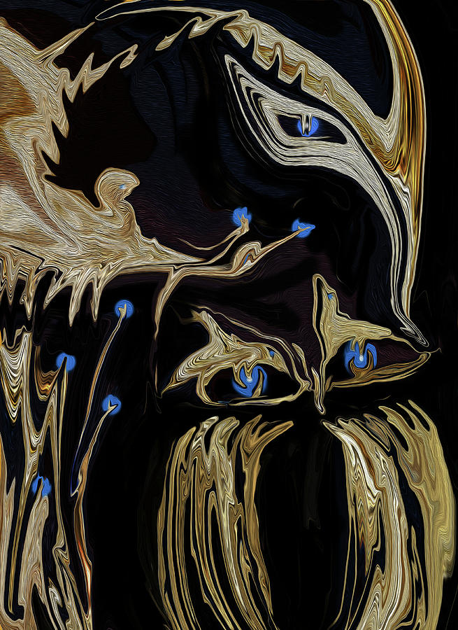 Apparel Digital Art - Golden Lady and The Owl by Sherris - Of Palm Springs