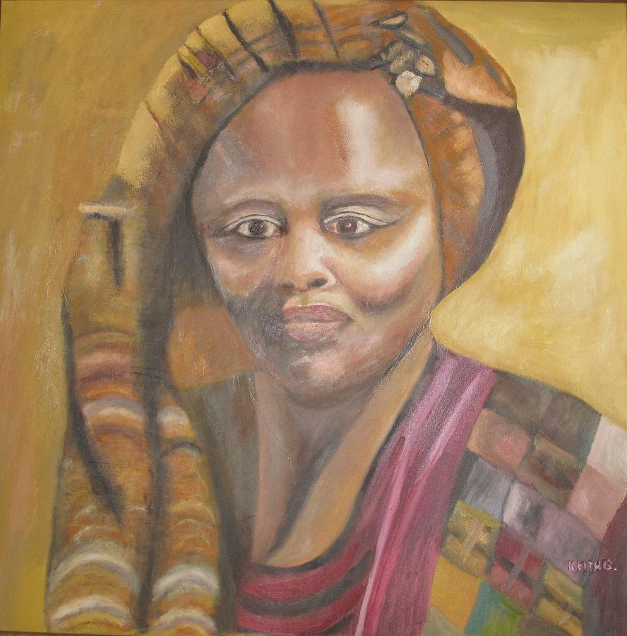 Woman Painting - Golden Lady by Keith Bagg