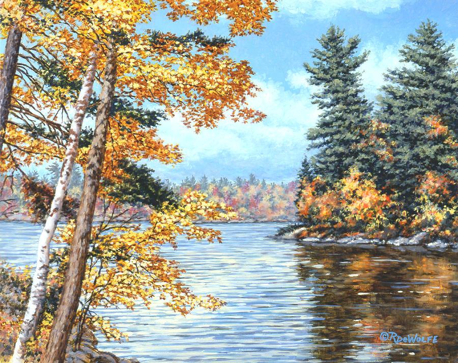 Autumn Painting - Golden Lake by Richard De Wolfe