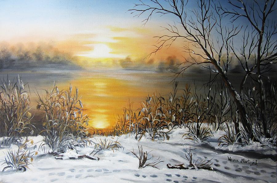 Landscape Painting - Golden Lake Sunrise  by Vesna Martinjak