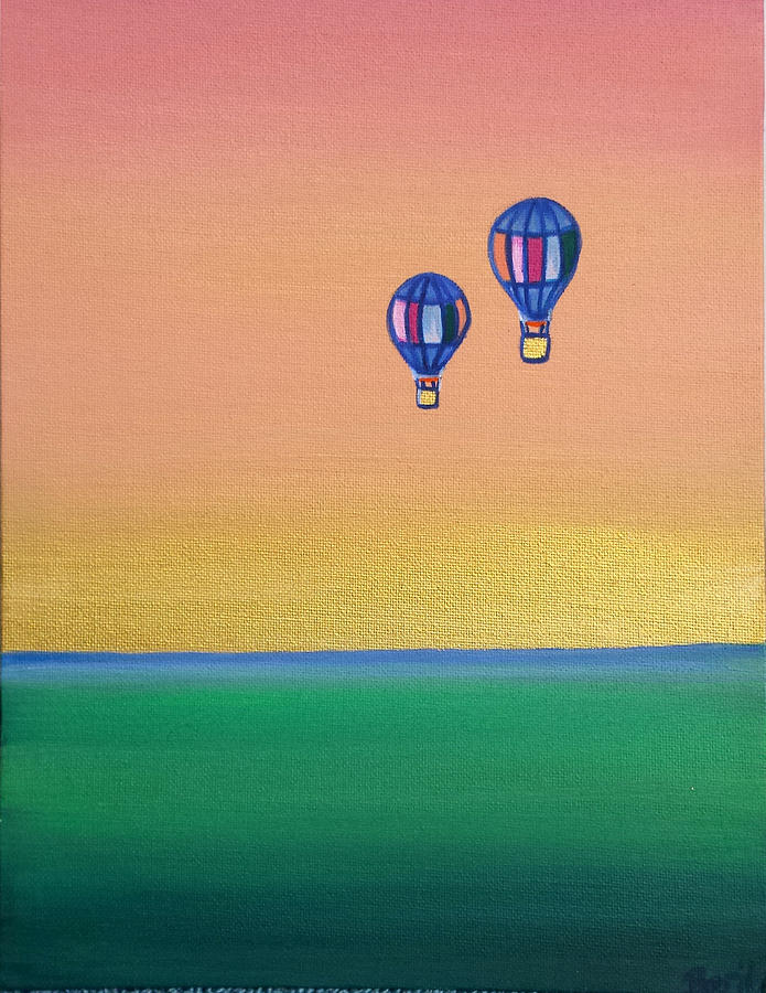 Landscape Painting - Golden Landscape And Balloons by Beryllium Canvas