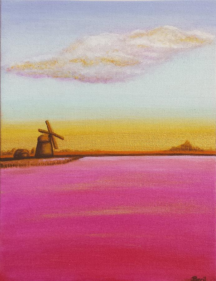 Lanscape Painting - Golden Landscape With Windmill by Beryllium Canvas