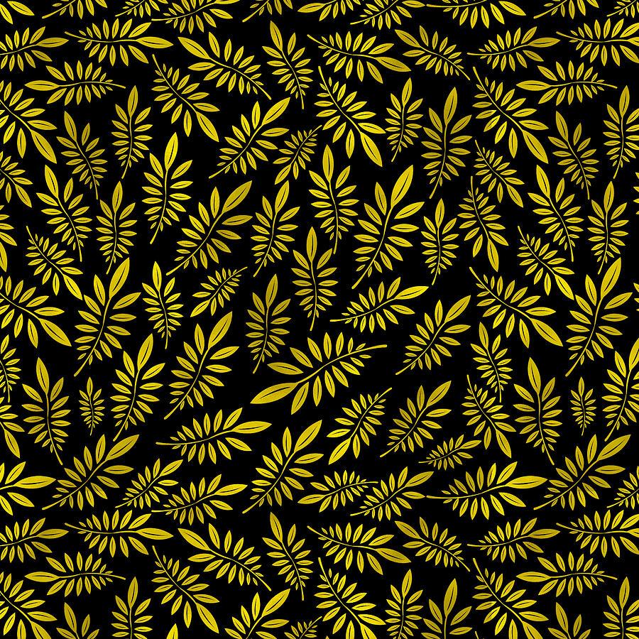 Pattern Digital Art - Golden leaf pattern 2 by Stanley Wong