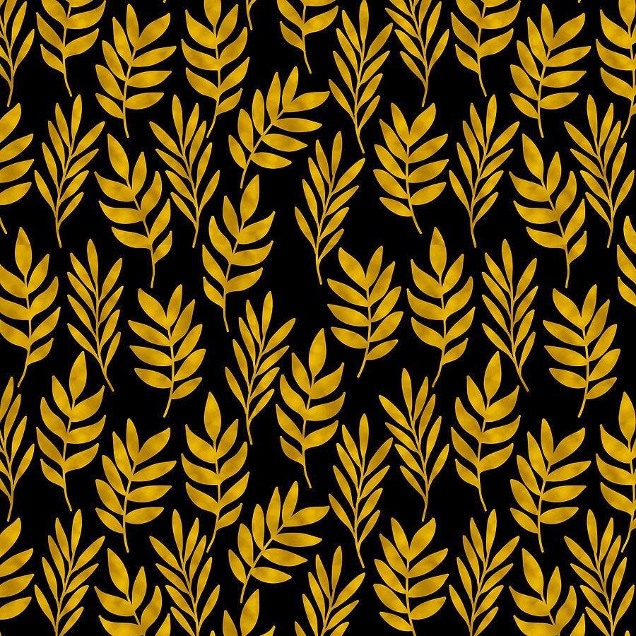 Pattern Digital Art - Golden Leaf Pattern by Stanley Wong