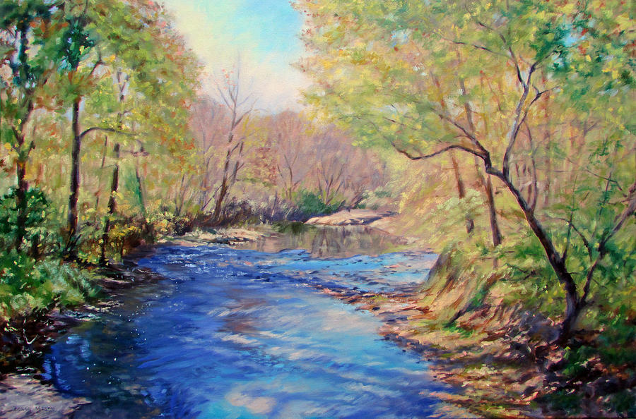 River Painting - Golden Light by Bonnie Mason