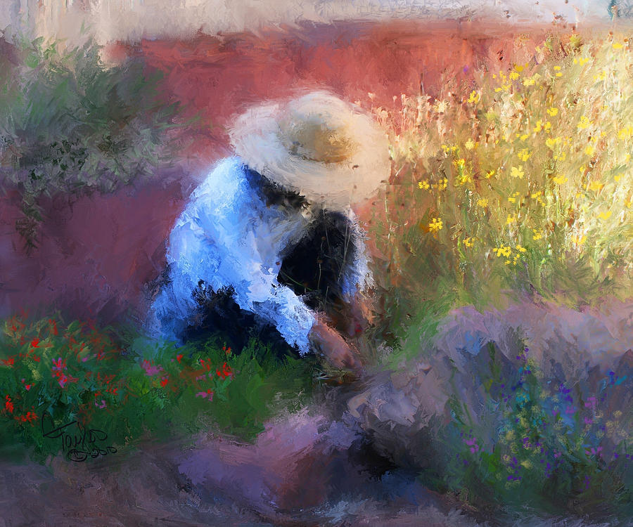 Woman Painting - Golden Light by Colleen Taylor