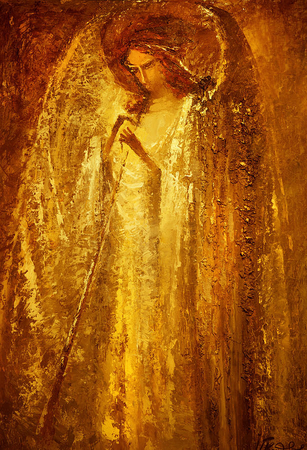 Angel Painting - Golden Light Of Angel by Valentina Kondrashova