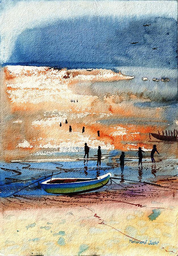 Golden Light on Sea by Makarand Joshi