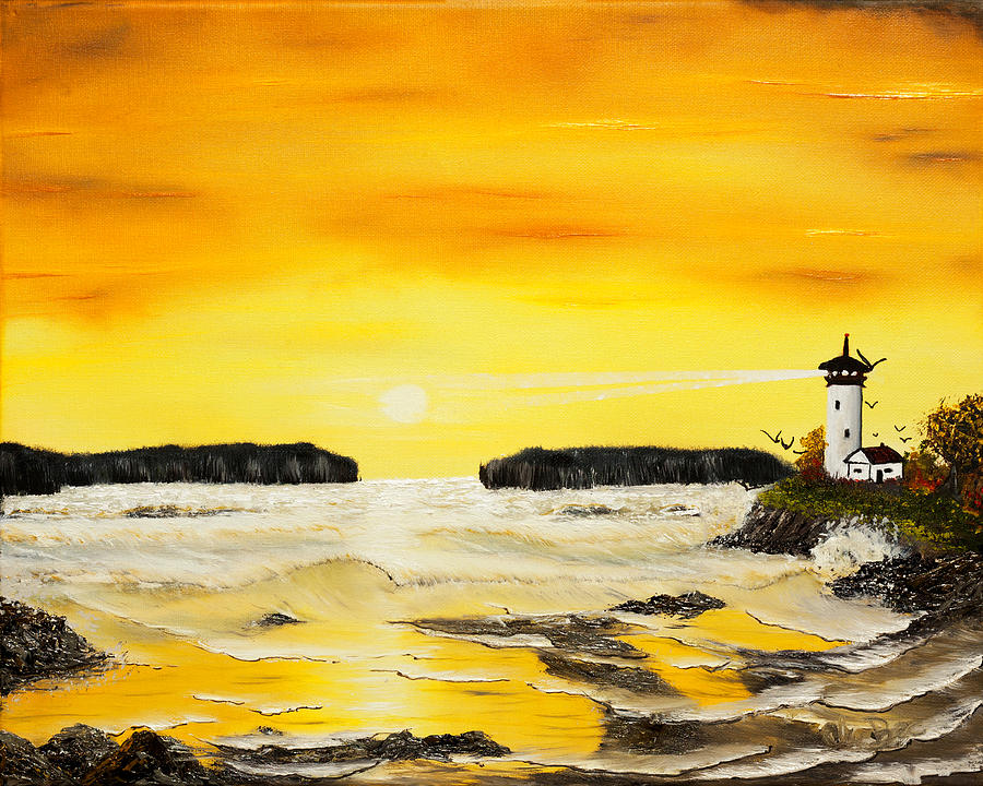 Sunset Painting - Golden Lighthouse Sunset  by Claude Beaulac