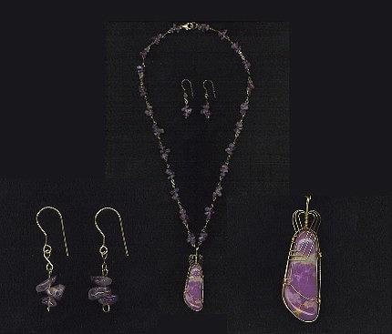 Amethyst Jewelry - Golden Lilac Amethyst And 14k Gold Filled Wire Wrap Pendant And Earring Set by Darlene Ryer