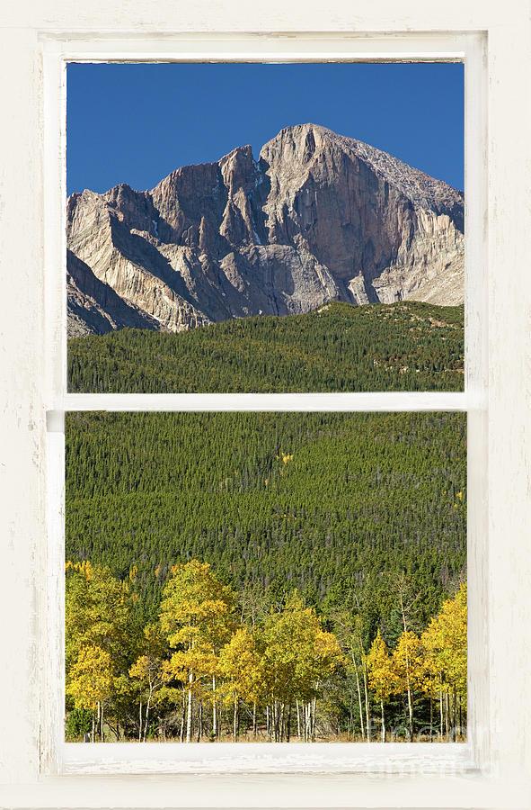 Golden Longs Peak View Through White Rustic Distressed Window Photograph