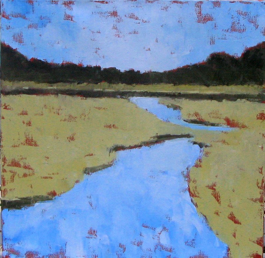 Palette Knife Painting - Golden Marsh by Donna Thomas