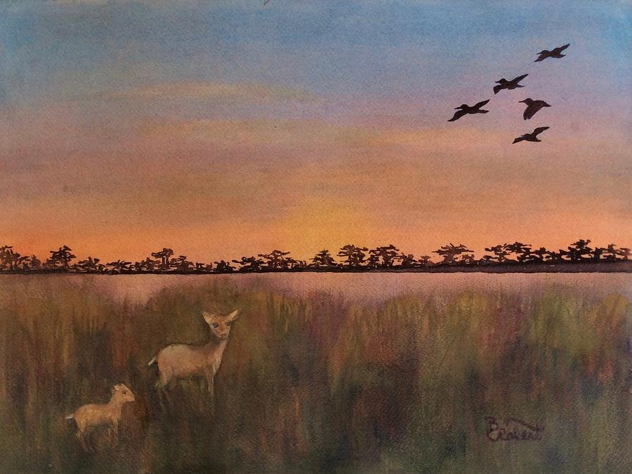 Watercolor Painting - Golden Marsh Visitors by Bonnie Rabert