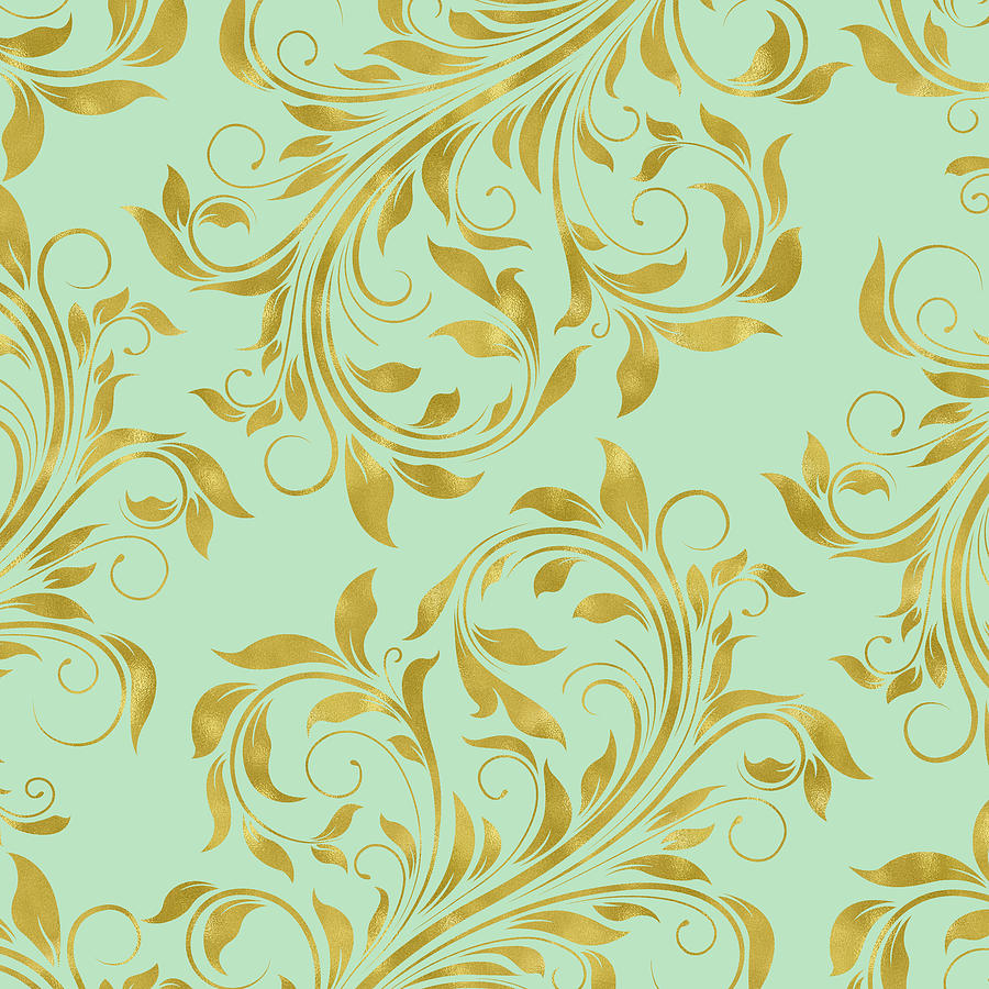 Golden Mint Damask Golden Damask Gold Foil On Mint Green Digital