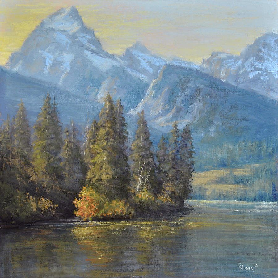 Tetons Painting - Golden Moments by Gary Huber