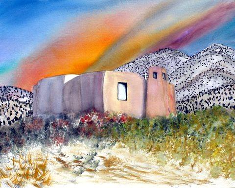 New Mexico Church Painting - Golden New Mexico Church  by Abad Sandoval