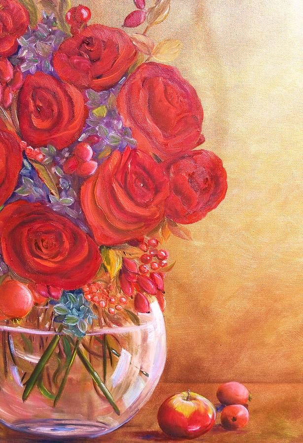 Red Roses Painting - Golden Oldies by Dana Redfern