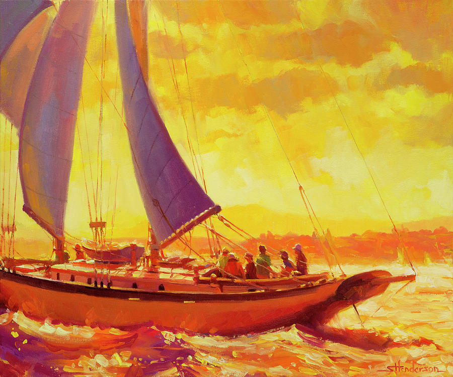 Sailing Painting - Golden Opportunity by Steve Henderson