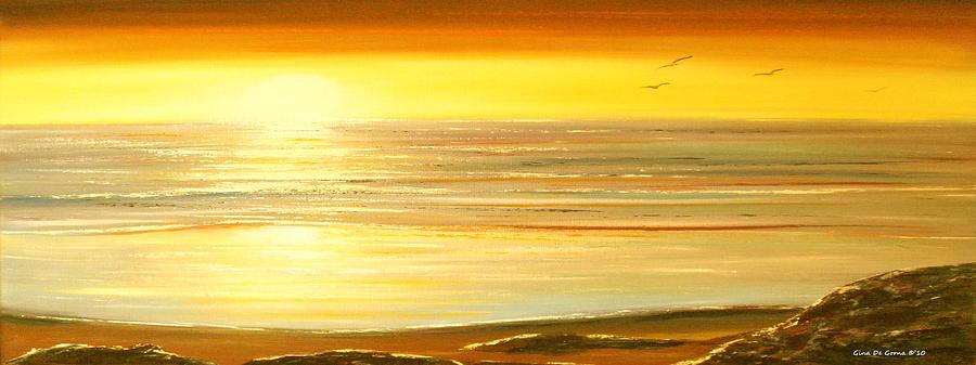 Brown Painting - Golden Panoramic Sunset by Gina De Gorna