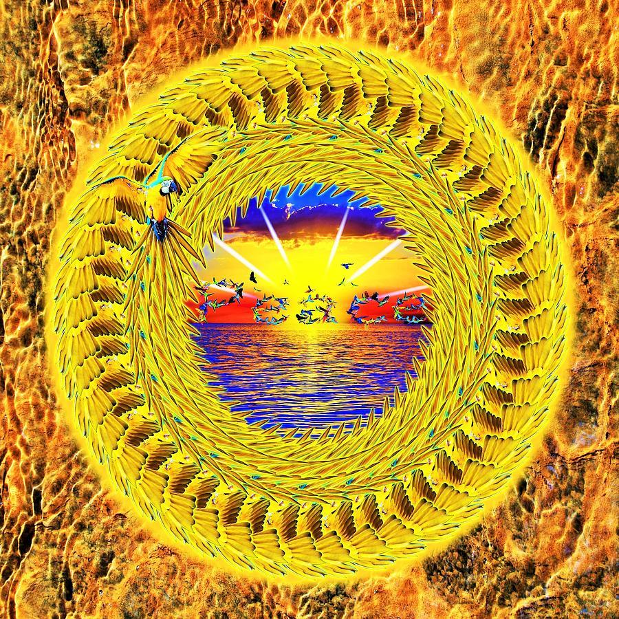 Golden Digital Art - Golden Parrot Mandala by The Awakening Art