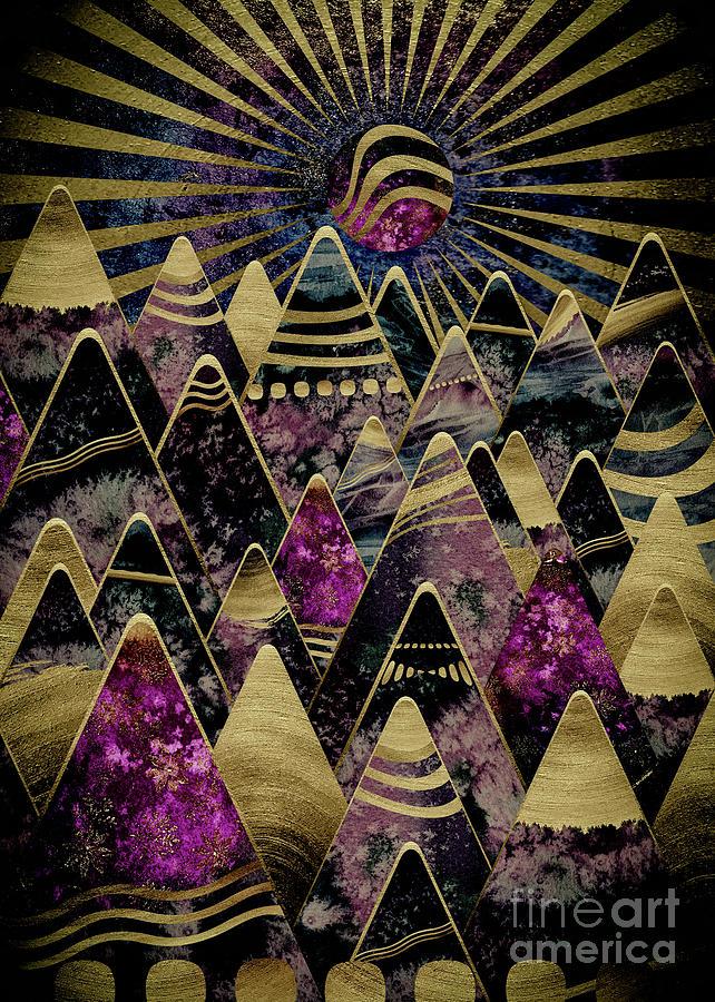Golden Peaks Digital Art