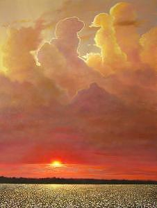 Golden Sunset Painting - Golden Pillars Sunset by Jerrie Glasper