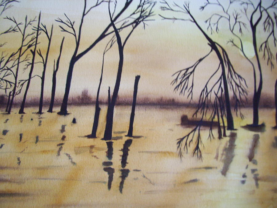 Waterscape Painting - Golden Pond by Audrey Bunchkowski