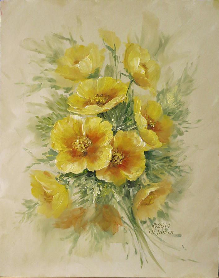 Golden Poppies Painting By David Jansen