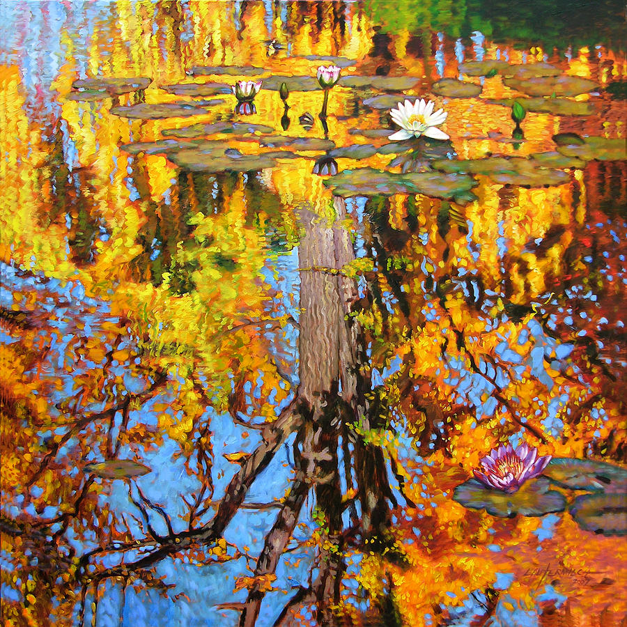 Landscape Painting - Golden Reflections On Lily Pond by John Lautermilch
