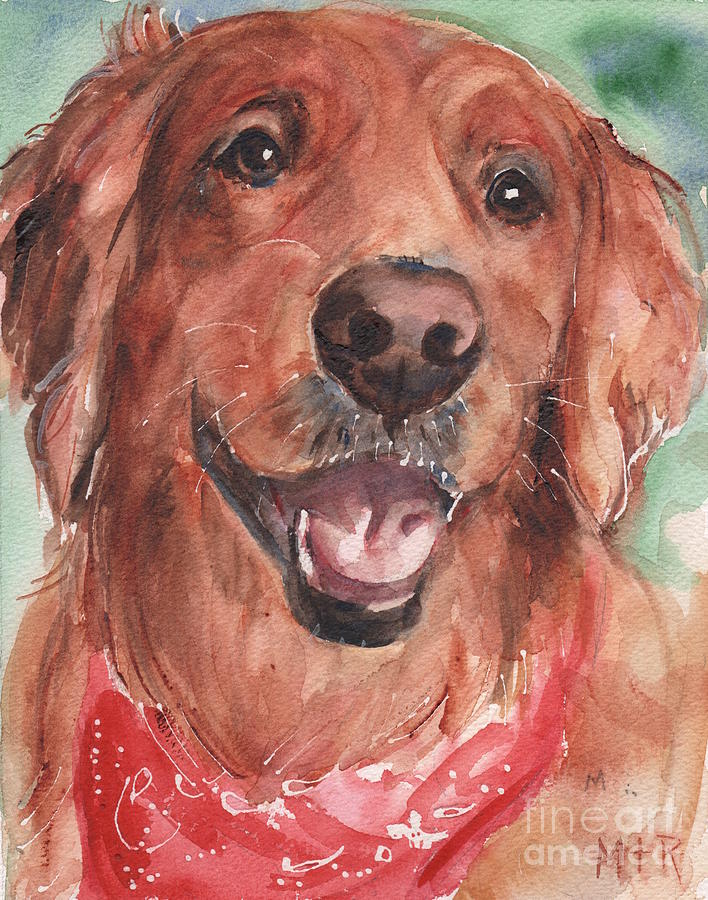 Golden Retriever Painting - Golden Retriever Dog in watercolori by Maria Reichert